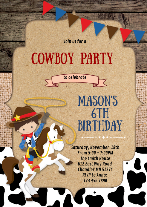 Cowboy cowgirl birthday party invitation A6 template