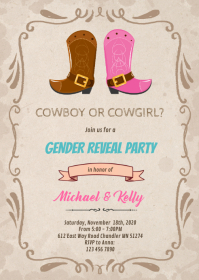 Cowboy cowgirl gender reveal invite