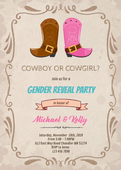Cowboy cowgirl gender reveal invite A6 template