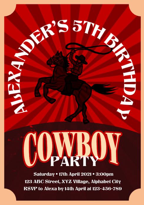 Cowboy Invitation A4 template