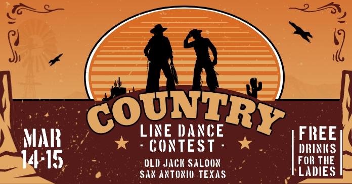 Cowboy Line Dance Contest Show Facebook Post template