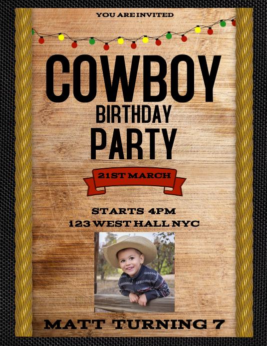 COWBOY TEXAN EVENT DANCE PARTY FLYER