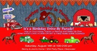 Cowboy Western Drive By Birthday Invitation Facebook Shared Image template