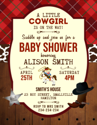 Cowgirl baby shower invitation Pamflet (Letter AS) template