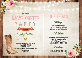 Cowgirl Bachelorette itinerary invitation A6 template