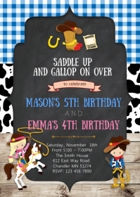 Cowgirl cowboy birthday party invitation