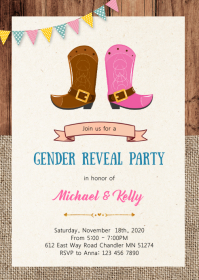 Cowgirl cowboy gender reveal invitation