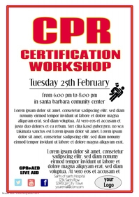 CPR certificataion workshop template flyer