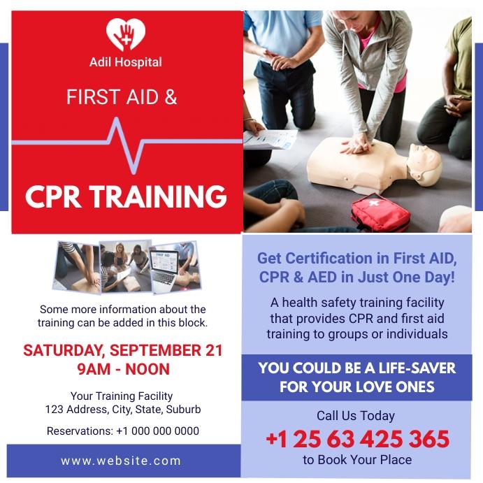 CPR Training Certification Advert Instagram 帖子 template