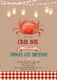 Crab feast party invitation A6 template