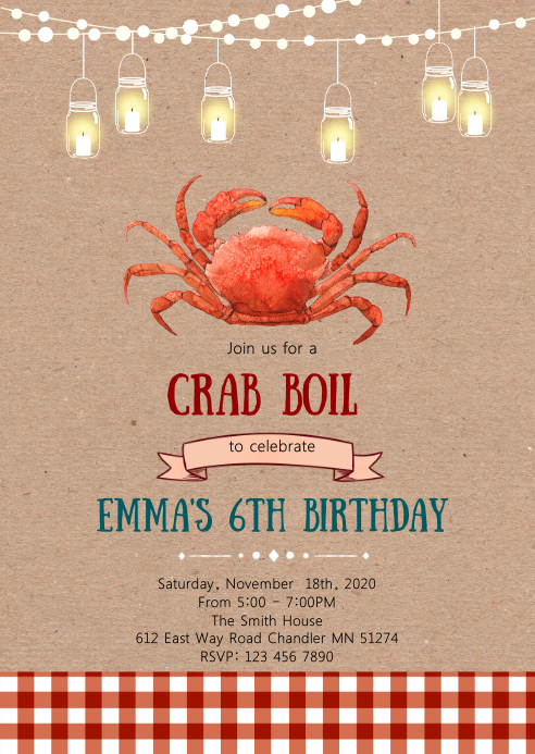 Crab feast party invitation