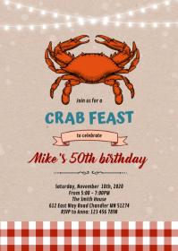 Crab feast theme invitation A6 template