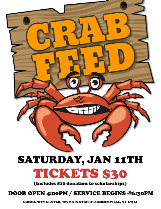 crab feed flyer template postermywall