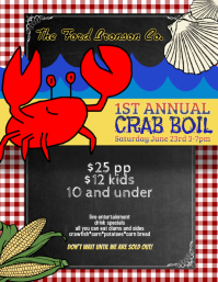 crab lobster boil flyer template Volante (Carta US)