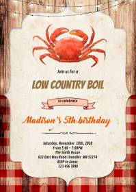 Crab Low Country Boil Invitation A6 template