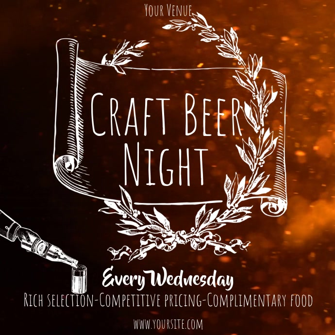 Craft Beer night old style video ad Quadrat (1:1) template