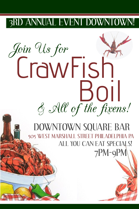image relating to Crawfish Boil Invitations Free Printable titled Crawfish Boil Template PosterMyWall