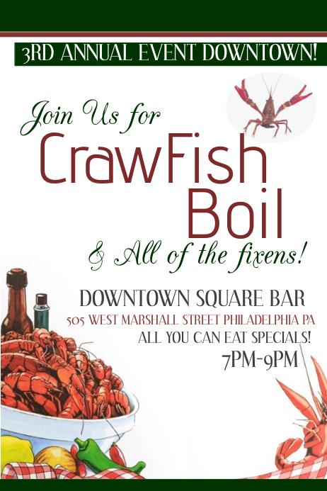 image relating to Crawfish Boil Invitations Free Printable titled Crawfish Boil Template PosterMyWall