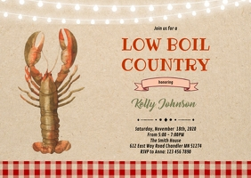 Crawfish low boil country party invitation A6 template