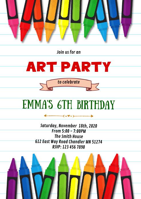 Crayon art birthday party invitation