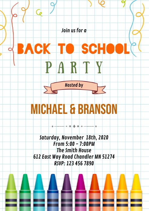 crayon Back to school open house invitation A6 template