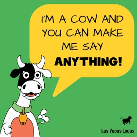 Crazy cow speech bubble balloon meme post