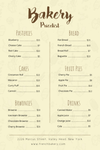 Cream Bakery Price List Poster template