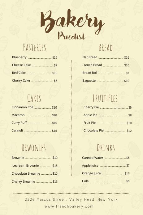Cream Bakery Price List