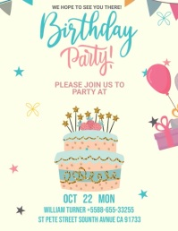 Cream Birthday Party Invite Slideshow Pamflet (VSA Brief) template