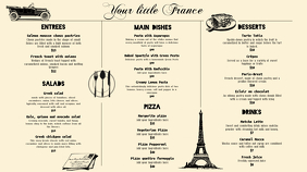 Cream French Bistro Menu Template Pantalla Digital (16:9)