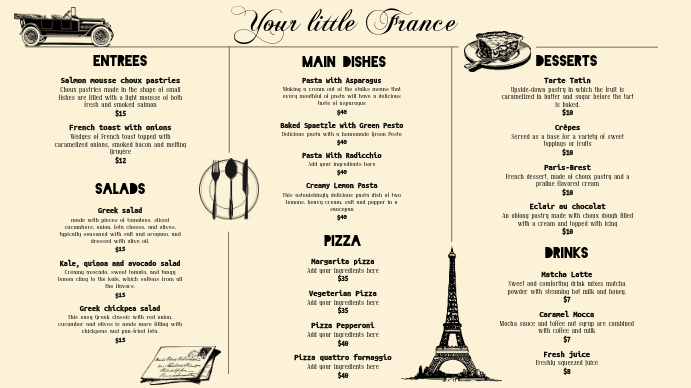 cream french bistro menu template postermywall