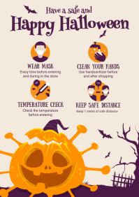 Cream Halloween Shopping Guidelines Covid-19 A4 template
