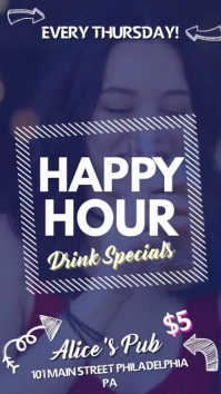 Creative Bar Happy Hour Advertisement Digital Display