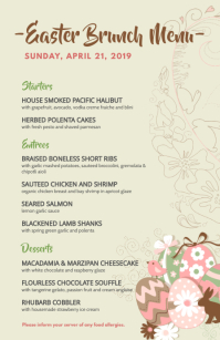 Creative Continental Restaurant Easter Menu