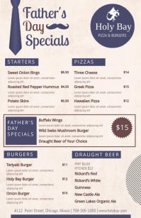 Creative Father's Day Specials Menu Design