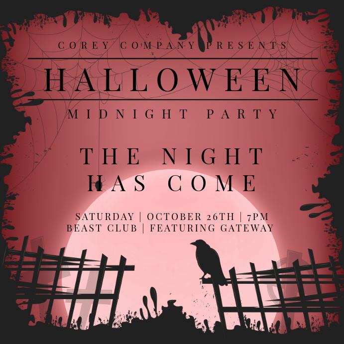 Creative Halloween Invitation For Social Media Template PosterMyWall - Mediatemplate