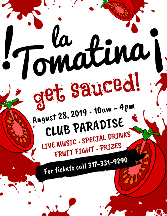 Creative La Tomatina Flyer Design Løbeseddel (US Letter) template