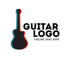 Creative music and guitar logo or icon
