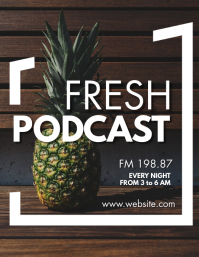 creative pineapple background fresh podcast Flyer (US Letter) template