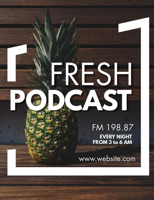 creative pineapple background fresh podcast 传单(美国信函) template