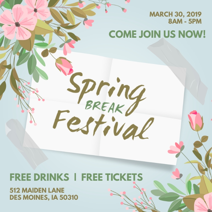 Creative Spring Festival Event Invitation Instagram-opslag template