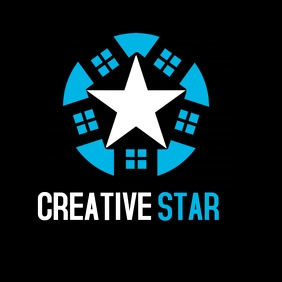Creative star white and blue logo