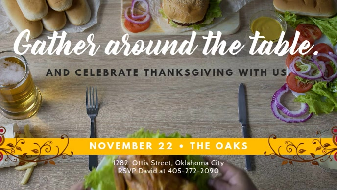 Creative Thanksgiving Event Facebook Cover Video Template