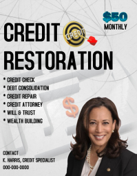 Credit Restoration Services ใบปลิว (US Letter) template