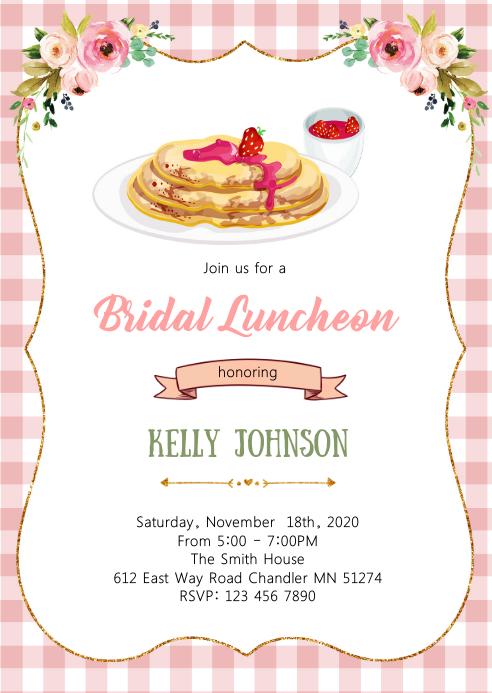 Crepe bridal shower invitation A6 template