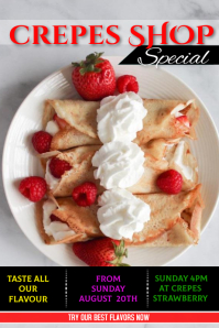 crepes ice cream Poster template