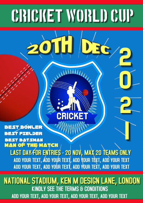 Cricket, Sports, world cup flyer, poster