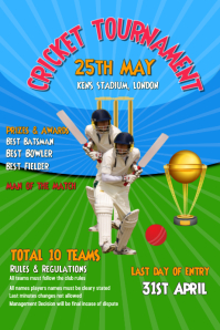 Cricket, Tournament, World cup Poster template