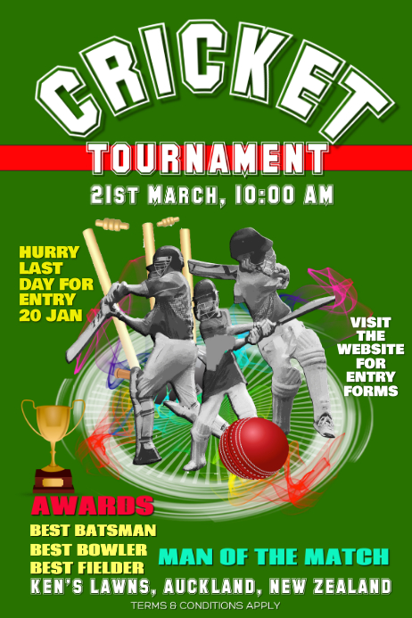 Cricket Flyer Poster For Tournaments Event Template