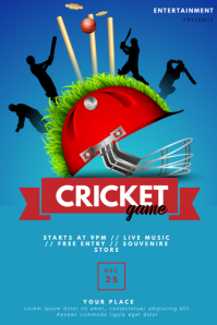 Cricket flyer Template Plakat